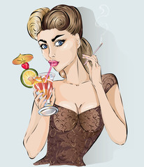 Sexy pop art woman drink cocktail and smoke cigarette