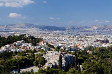 Athens cityscape view from the Acrópolis.