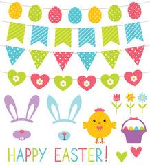 Easter decoration and design elements set