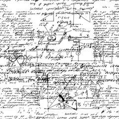 Seamless endless pattern background with handwritten mathematica