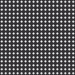 Seamless texture of white crosses on a black background, vector design wallpaper
