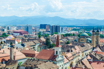 aerial view of romanian city sibiu from the top of tower of the lutheran cathedral of saint mary