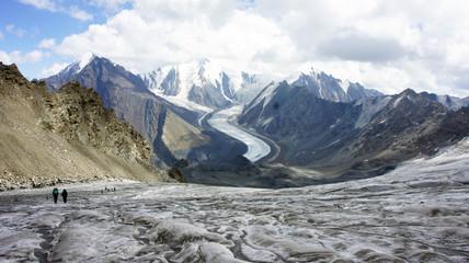 Trekkers at glacier Greater Caucasus Mountain Range