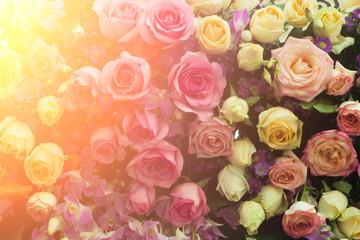 Roses flower bouquet in vintage and light leak color style for v
