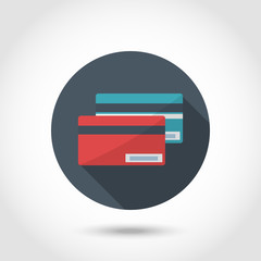Flat modern style designCredit Card Icon red and blue.Concept for web banners and printed materials.With long shadow isolated on a circle