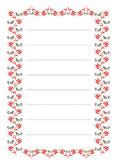 A page of notepad with hungarian folk motif.