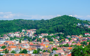 Aerial view of the old town of romanian city brasov taken from the citadel hill.