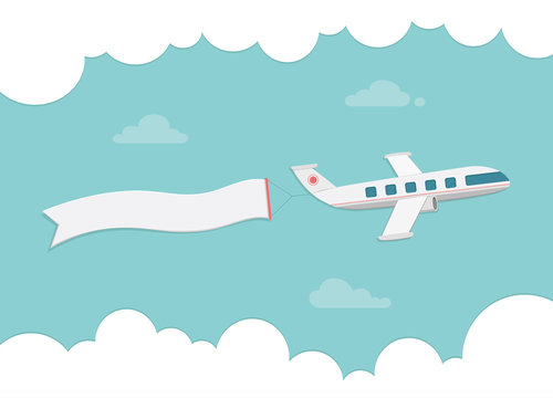 Small passenger plane carrying a banner. Flat style vector illus