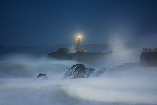 Mouro lighthouse in Santander at night