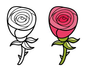 Beautiful cartoon rose.
