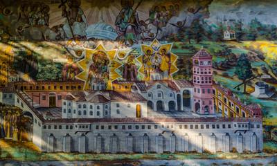 detail of beautiful artwork of bachkovo monastery in bulgaria.