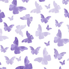 Seamless watercolor purple  butterflies pattern