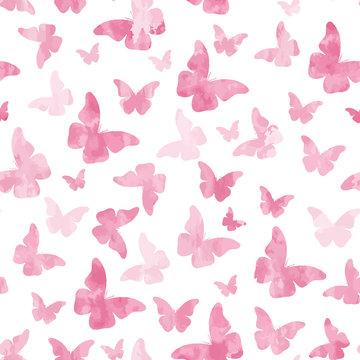 Seamless watercolor pink butterflies pattern