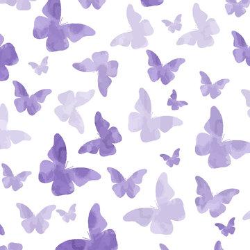 Seamless watercolor purple  butterflies pattern
