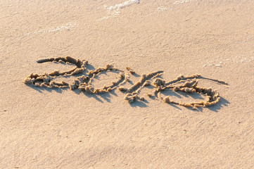 Year 2016 written in the Sand on a Beach against sunset