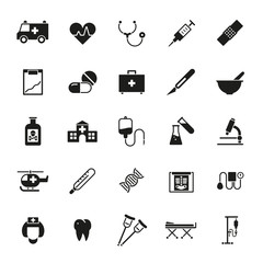 Medical and Health Care Solid Vector Icon Set
