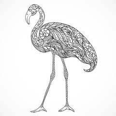 Flamingo decorated with oriental ornaments. Vintage black and white hand drawn vector illustration