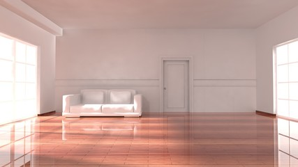 Empty sunny room with windows, sofa and parquet floor, apartment interior