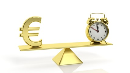 Golden balance scale with Euro symbol and alarm clock, on white background.