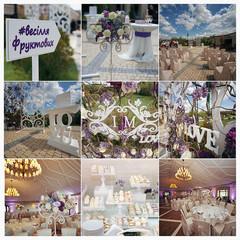 Collage of stylish, luxury wedding reception decorations