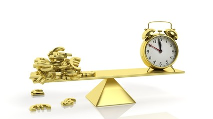 Golden balance scale with currency symbols and alarm clock, on white background.