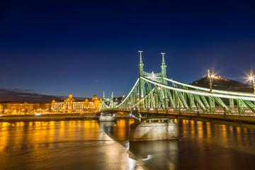 Nightshot at chain bridge on Danube river with lights, Budapest city Hungary.Nightshot at chain bridge on Danube river with lights, Budapest city Hungary.