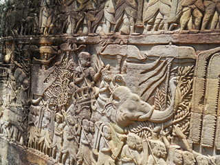 Angkor Thom,bas-reliefs,Bayon, Siem Reap Cambodia