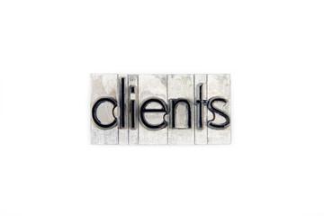 clients  / caracteres d'imprimerie en plomb