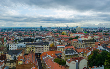 Zagreb lower town colorful panoramic view - The Capital of Croatia