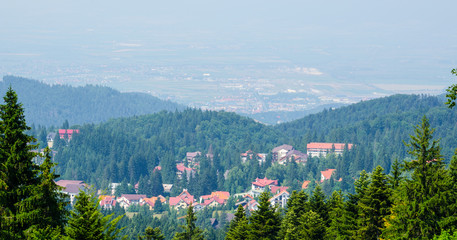 aerial view of poiana brasov resort during summer.