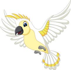 Cartoon funny white parrot flying