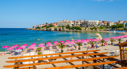 Central beach and view of the Old Town. Sozopol was founded in the 7th century BC by Greek colonists. Today it is one of the major seaside resorts in the country Wall mural