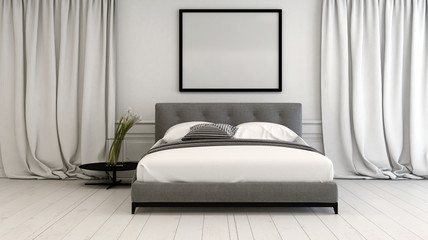 Modern bedroom interior in neutral tones