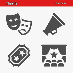 Theatre Icons. Professional, pixel perfect icons optimized for both large and small resolutions. EPS 8 format.