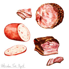 Watercolor Food Clipart - Bologna, Ham, Bacon