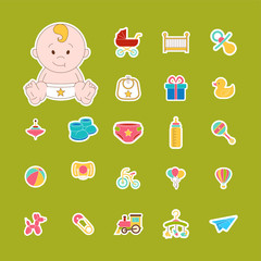 Baby Icons Set. Isolated Doodle baby labels Vector Illustration