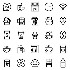 Coffee, coffee shop line icon set