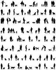 Black silhouettes of people with dog, vector