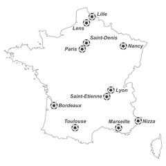 EM 2016 - Karte von Frankreich mit EM-Stadien (weiß)