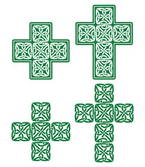 Celtic cross - set of traditional green designs from Ireland