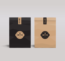 brown and black paper packaging set mock up .  coffee shop and restaurant.