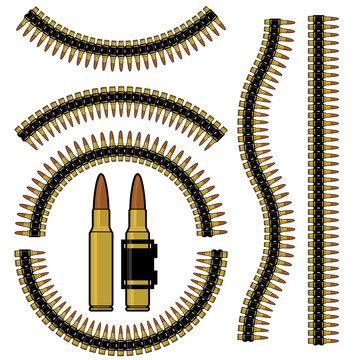 Bullet and machinegun cartridge belt in different shapes