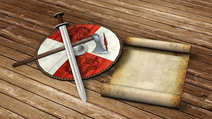 viking shield, sword, axe and parchment scroll on wooden floor