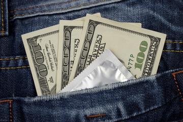 condom and money