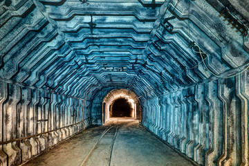 Interior of tunnel in abandoned coal mine