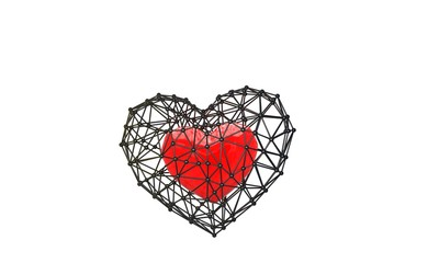 metal cage with heart inside