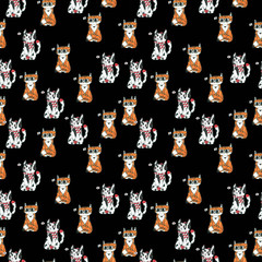 Hand drawn cartoon cats. Seamless pattern. Can use them for prints, textile, baby decoration, cards, wrapping.