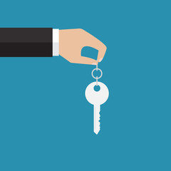 The hand holding a key. Vector illustration