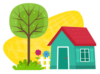 Small House With Tree - Small blue house with a fence, flowers and a tree. Eps10
