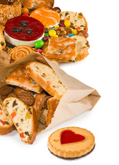 Image of various tasty cookies closeup